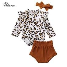 Новая детская одежда, леопардовый комбинезон с рюшами+ шорты на подгузник для детей 0-24 месяцев, новая весенняя одежда из 3 предметов для новорожденных и маленьких девочек, Детский комплект