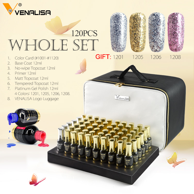 111pcs 12ml VENALISA Gel Varnish Lacquer Color Chart Nail Art Super Shining Glitter Starry High Quality