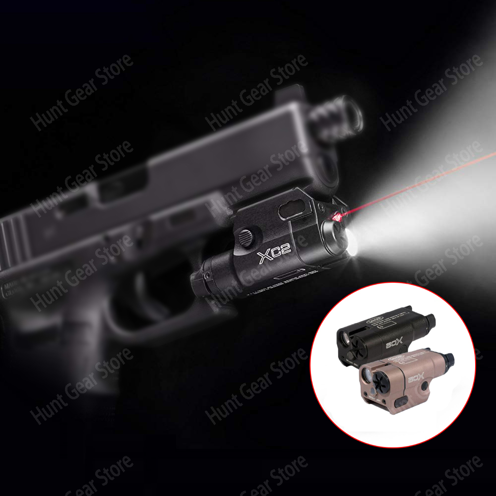 XC2 Laser Light Compact Pistol Flashlight With Red Dot Laser Tactical LED MINI White Light 200 Lumens Airsoft Flashlight image