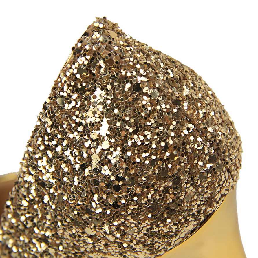 2019 Women 9.5cm High Heels Plus Size 43 Stripper Glitter Scarpins Luxury Pumps Stiletto Wedding Bridal Gold Silver Fetish Shoes