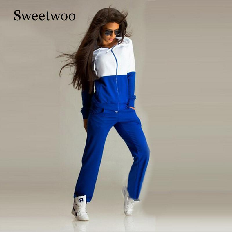 Women Sports Suit Tracksuit 2 Piece Yoga Set Women Hooded Sportswear Jogging Track Suit Zipper Gym Clothing in Yoga Sets from Sports Entertainment