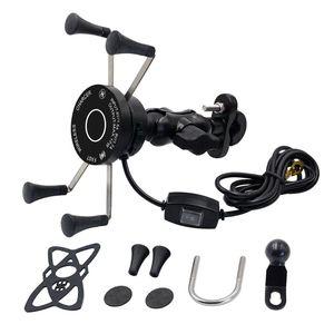 Image 1 - Yeni 12V Scooter ATV motosiklet telefon QC3.0 USB Qi hızlı şarj kablosuz şarj braketi tutucu için Tablet telefon