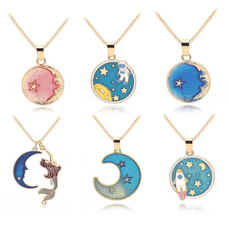 New Colorful Cartoon Ocean Starfish Crescent Half Moon Geometry Round Astronaut Space Universe Sun Stars Sky Necklace Jewelry Pendant Necklaces Aliexpress