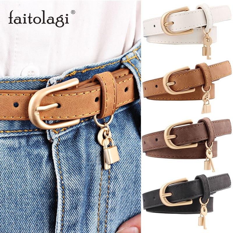 Fashion Leather Belts For Women Metal Buckle Designer Tassel Female Waist Belts Black White Brown Girls Pants Jeans Belts