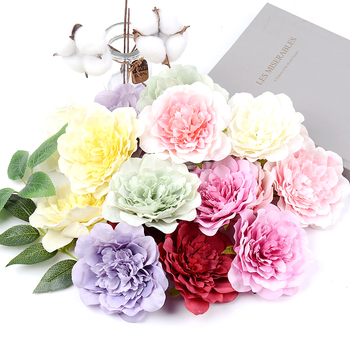 5pcs 10CM Large Artificial Peony Flower High Quality Silk Rose For Wedding Party Home Decoration DIY Wreath Gift Clip Art Flower yooromer 5pcs lot 8 5cm high quality peony flower head silk artificial flower wedding decoration diy garland craft flower