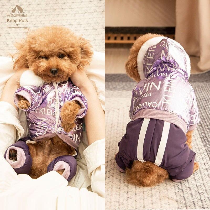 Серебристый ветрозащитный зимний комбинезон для собаки с принтом, теплая толстовка с хлопковой подкладкой для маленьких щенков, одежда для йоркширских терьеров и чихуа Хуа|Комбинезоны и ромперы|   | АлиЭкспресс