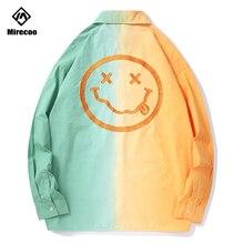 Mirecoo Men Shirt Smile Embroidery Shirts Harajuku Patchwork Casual Hip Hop Long Sleeve Mens Streetwear Tops Clothes