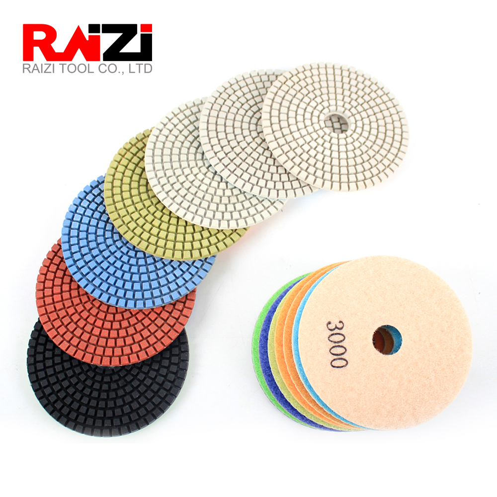 Raizi 7 Pcs Granite Polishing Sanding Disc Kit 50-3000 Grit Factory Price Abrasive Wet Granite Diamond Polishing Pads Tool