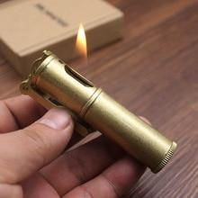 Retro Free Fire Torch Brass Lighter Windproof Grinding Wheel Flint Kerosene Oil Pipe Lighter Cigarette Gasoline Gadgets For Men стоимость
