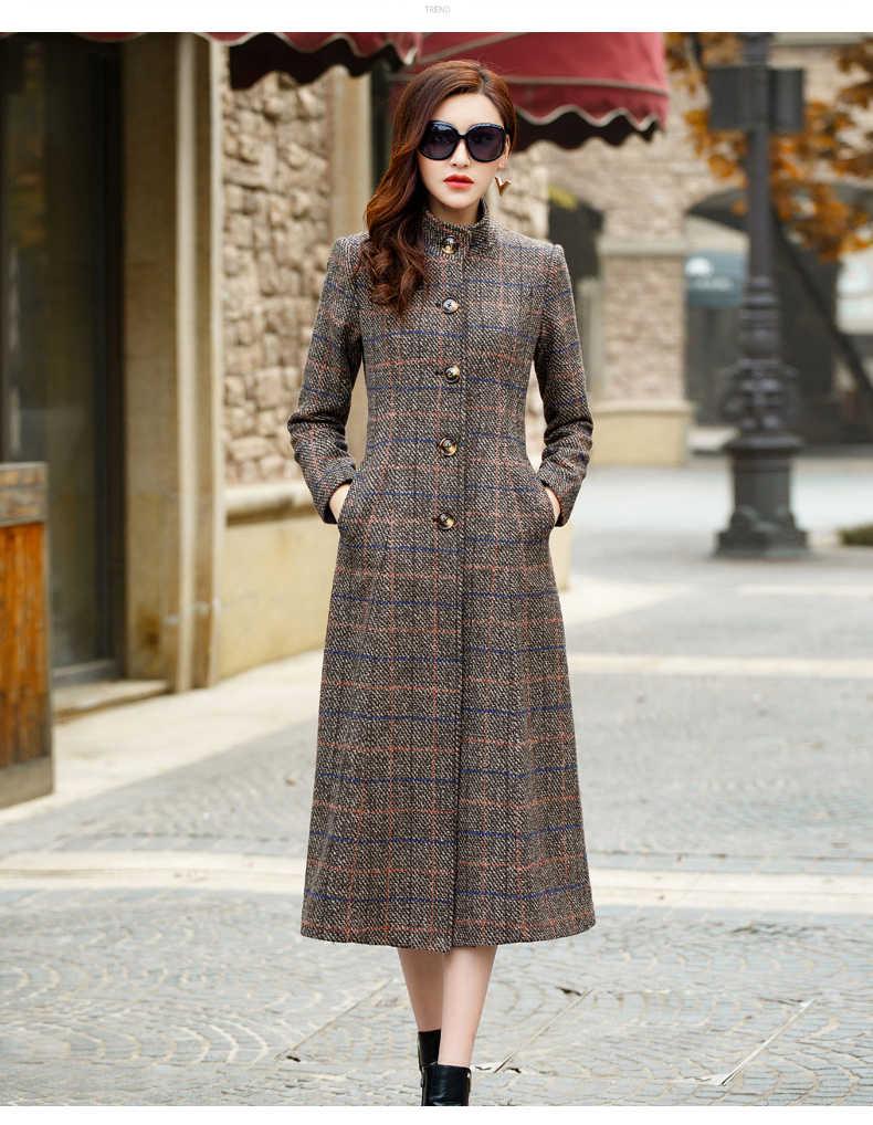 منقوشة المرأة الصوفية معطف الإناث معاطف طويلة حجم كبير Casaco Feminino معطف أنيق السيدات سترة Abrigos KJ177