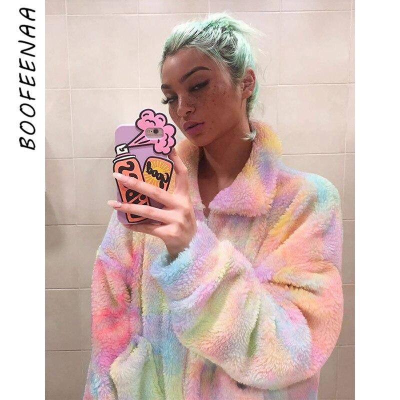BOOFEENAA/Зимние плюшевые пальто и куртки радужной расцветки с галстуком женская уличная одежда из искусственного меха флисовая плюшевая негаб...
