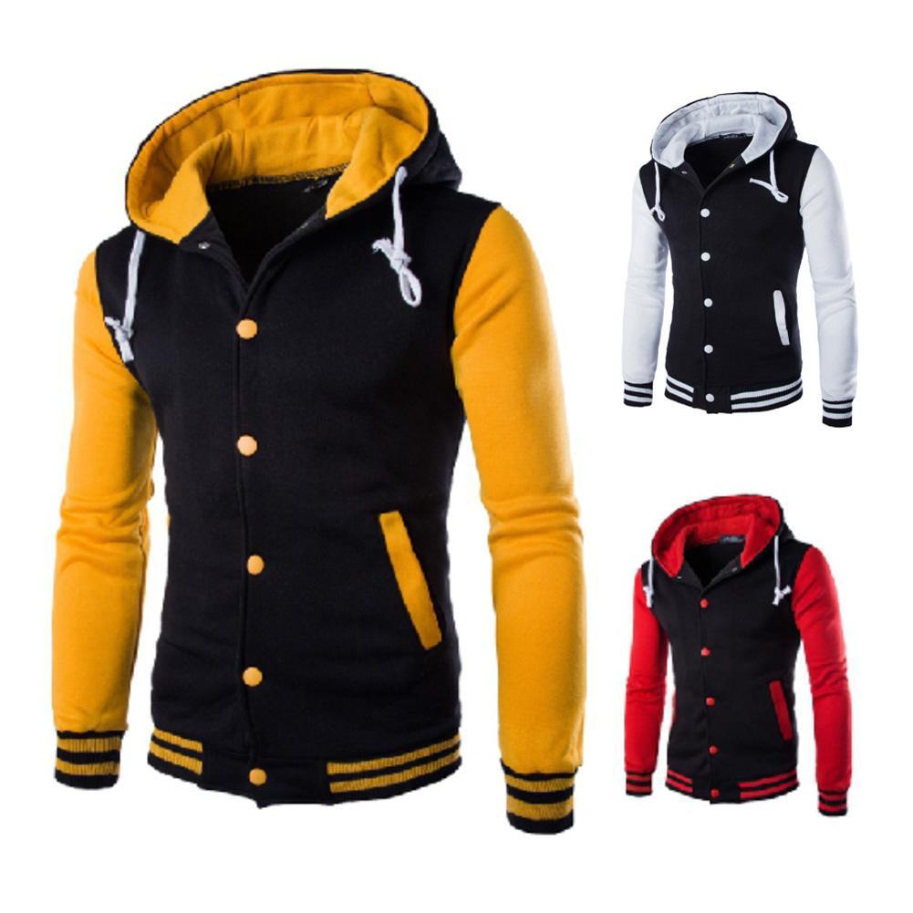 Men Hoodie Baseball Jacket Button Autumn Warm Hooded Long Sleeve Pullover Men's Casual Hoodie Sweatshirt Outdoor Windproof Coat