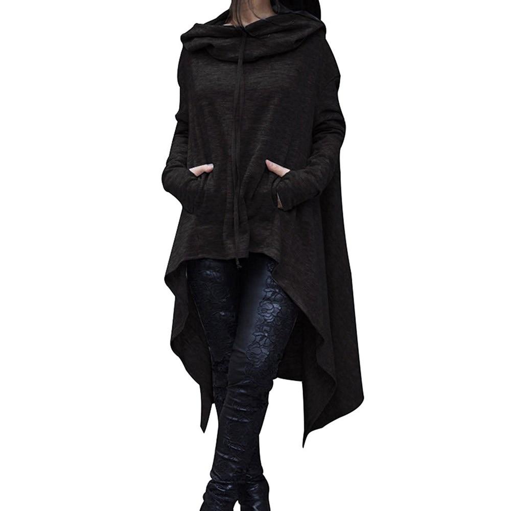 2019 Irregular Hoodies Solid Color Fashion Oversize Hoodies Sweatshirt Women Loose Hoody Mantle Hooded Pullover Outwear Coat 3