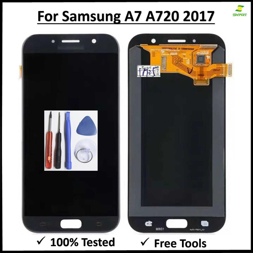 Display Screen Digitizer Replace for <font><b>Samsung</b></font> Galaxy A720 2017 A720F A720M SM-A720F <font><b>LCD</b></font> Touch assembly For Galaxy <font><b>A7</b></font> 2017 LCDS image