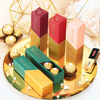 50/100pcs Wedding favor and gifts chocolate candy box lipstick boxes gold red creative packaging a gift for guests