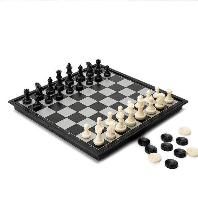 Jeu d'échecs International mégnétique haut de gamme avec jeu de damme Backgammon inclu pliable 4
