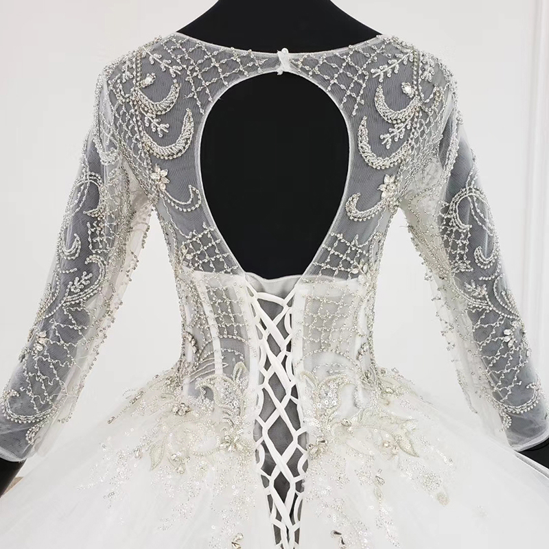 Image 5 - HTL1101 like white wedding dress long sleeve o neck lace up open back crystal corset bridal gowns European and American styleWedding Dresses   -