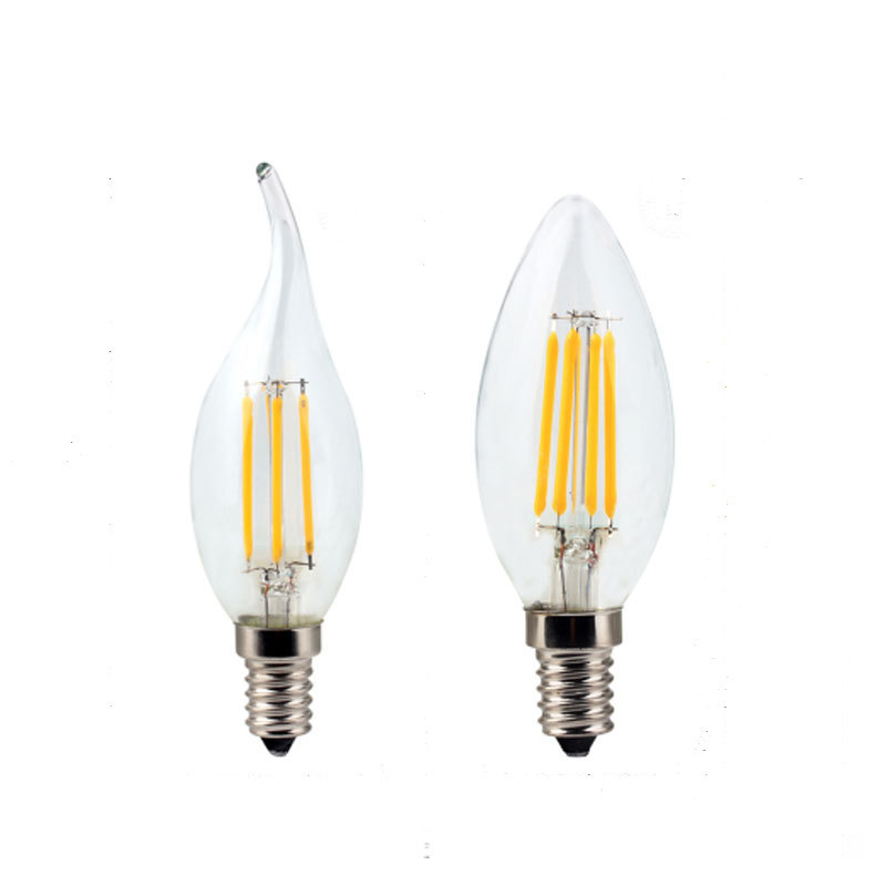 Светодиодный потолочный светильник C35 C35L лампы в форме свечи лампы E14 4W 8W 12W AC220V Ретро Античная Стекло Эдисон лампы Винтаж светодиодный нити ...