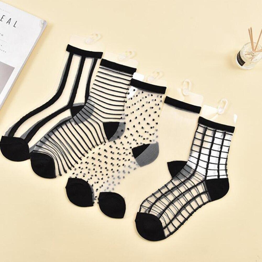 1 Pair Female Ultra Thin Elastic Silk Girl Short Low Cut Ankle Socks Summer Clear Fashion Transparent Stripe Women's Socks