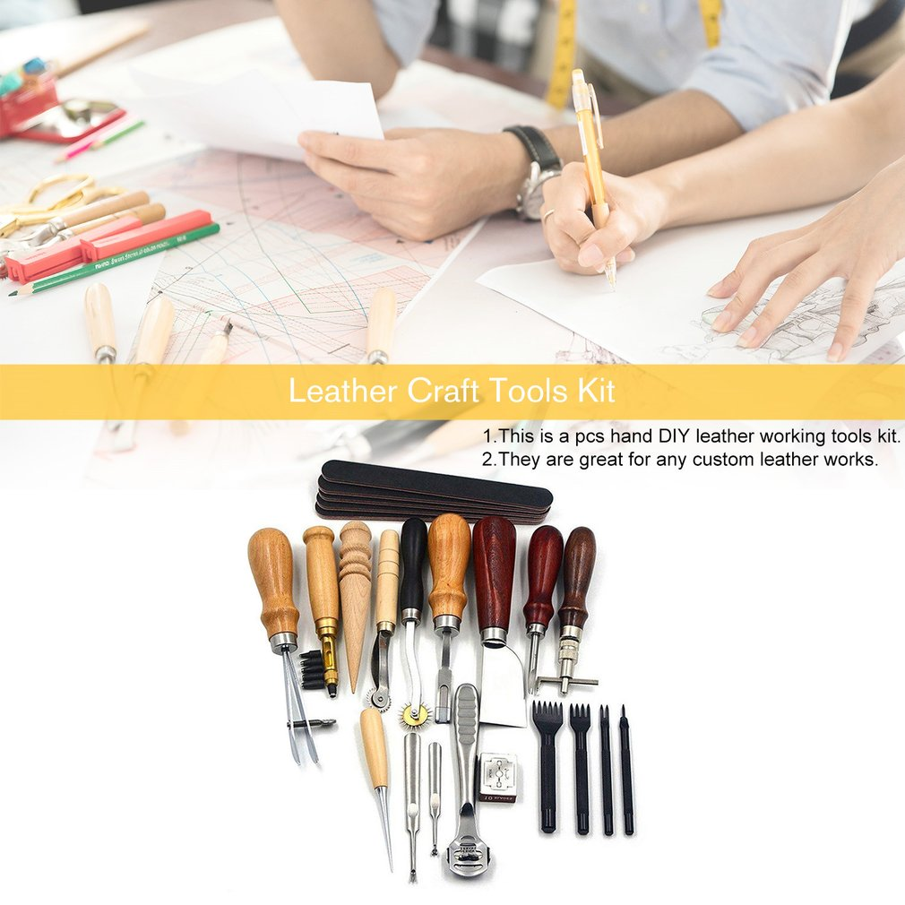 18PCS Leather Craft Tools Kit Stitching Sewing Carving Work Punch Saddle Leathercraft Accessories for DIY Hand Leather Working