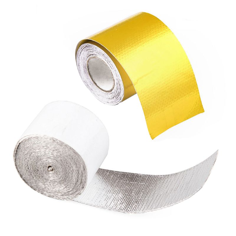 5m Vehicle Car Exhaust Pipe Aluminum Foil High Temperature Wrap Reflective Heat Shield Tape Protector Case Car Accessories