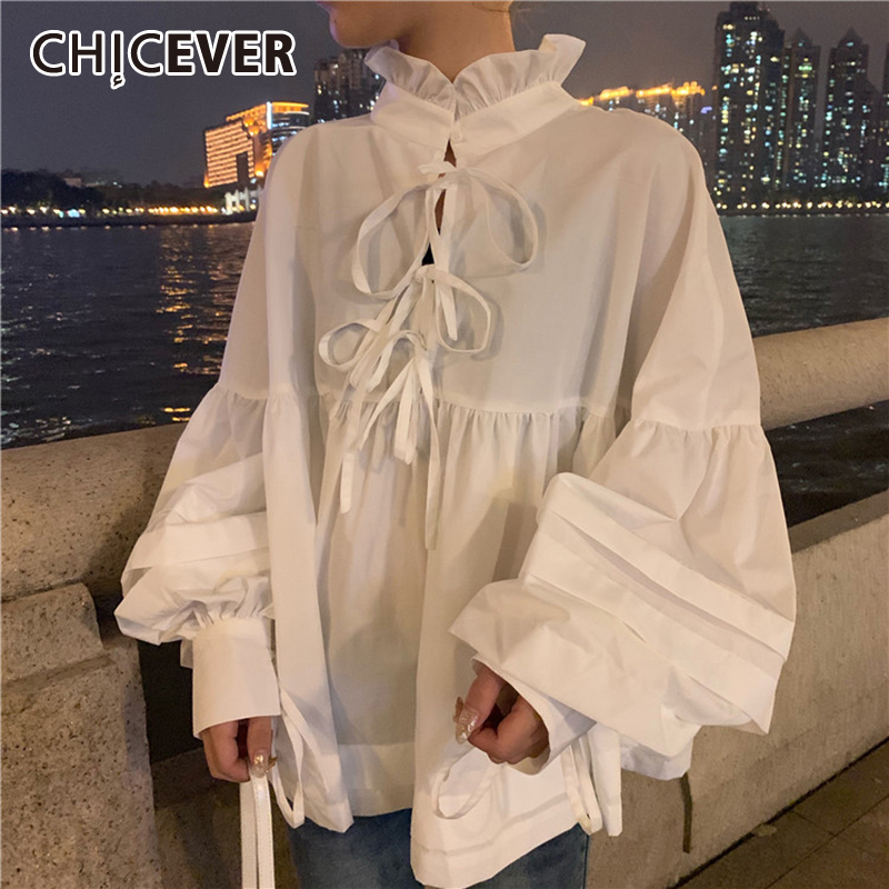 CHICEVER Korean Lace Up Shirt Women Stand Collar Lantern Sleeve Oversized Loose Blouse Female 2020 Spring Fashion New Clothes