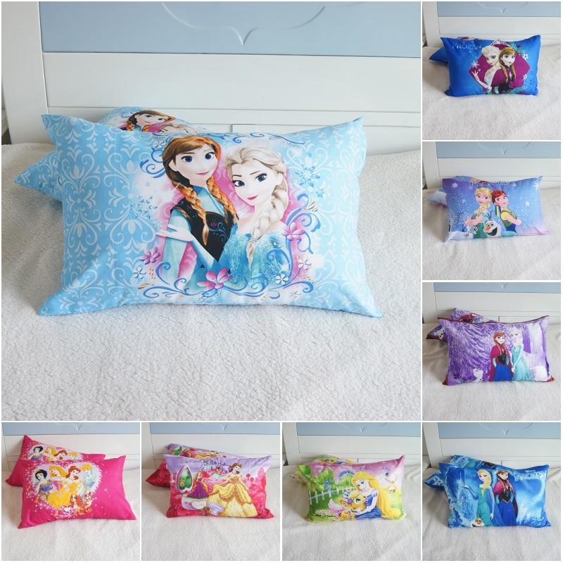 Disney Cartoon Princess Frozen 2 Pillowcases Baby Boys Girls Kids Gift Decoration 3D Pillow Cover Pair 48x74CM On Bed