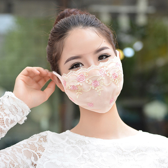 Korean face mask floral Embroidery cotton breathable masks protection dustproof cycling maske for women mondkapjes wasbaar 3