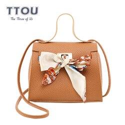 TTOU модная женская сумка-мессенджер с бантом и шарфом, мини женская сумка на плечо, черные, розовые вечерние женские сумки, винтажная сумка-по...