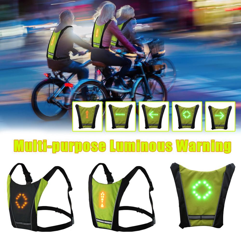 Nuovo 2020 LED Wireless maglia da ciclista 20L MTB sacchetto della bici di Sicurezza LED Segnale di Girata Luce Della Maglia Della Bicicletta Avvertimento Riflettente Gilet con remo