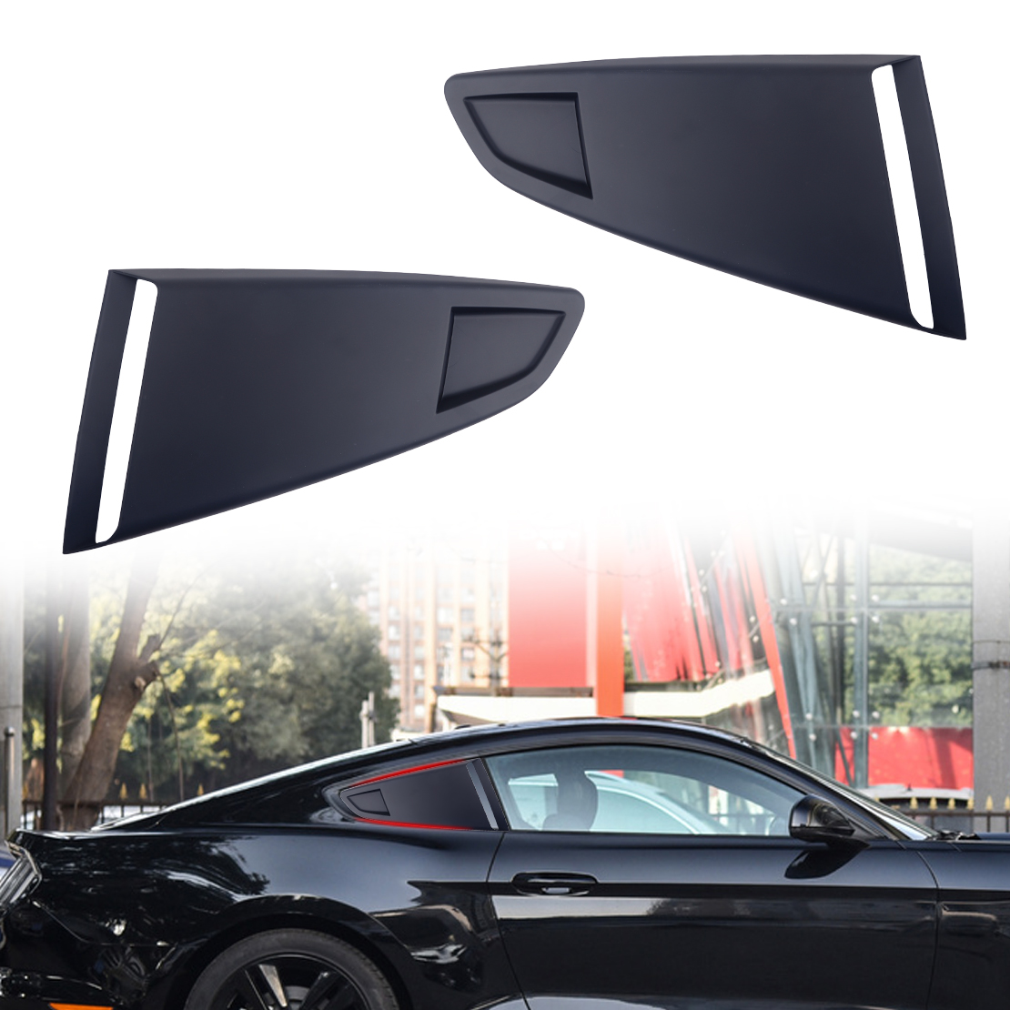 CITALL 1Pair Black Plastic Car Window Quarter Rear Louver Side Vent Scoop Cover Decor Fit For <font><b>Ford</b></font> <font><b>Mustang</b></font> <font><b>2015</b></font> 2016 2017 2018 image