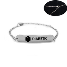 New High Blood Pressure Medical Alert ID Bracelet for Woman Child Stainless Steel ICE SOS Adjustable Chain Bracelets Jewelry customized silicone medical alert id bracelet waterproof stainless steel adjustable emergency identification bangle wristband