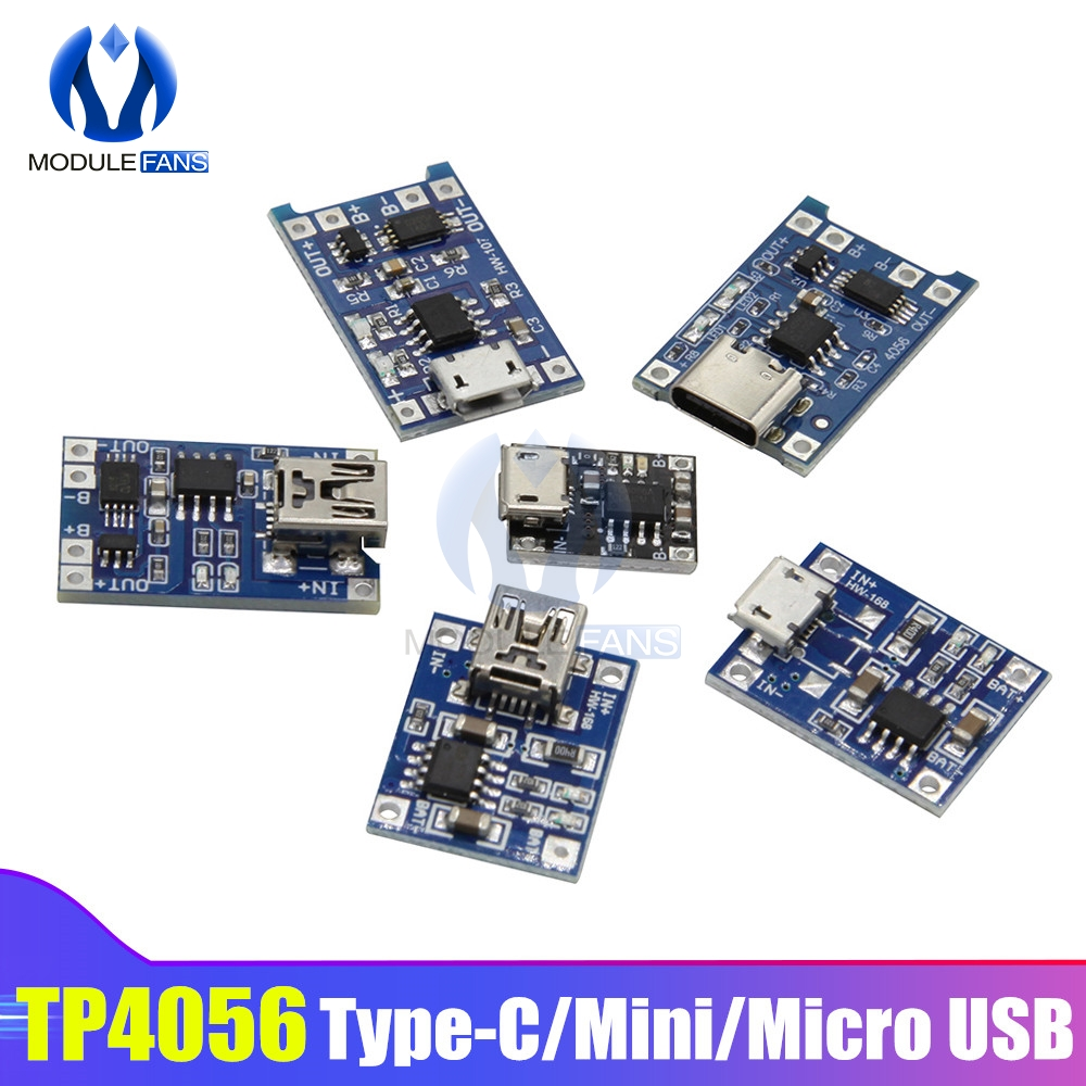 10PCS/set TP4056 TC4056 Type-c/Micro/Mini USB 5V 1A 18650 Lithium Battery Charger Module Charging Board Dual Functions Li-ion