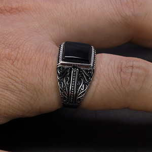 Image 5 - 925 Sterling Silver Rings Mens Rings Vintage Flower Engraved Black Green Red Natural Onyx Stone Square Shape Punk Turkey Jewelry