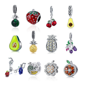 Authentic 925 prata esterlina bonito contas de frutas encantos caber pulseira pandora original balançar diy pingente jóias para as mulheres