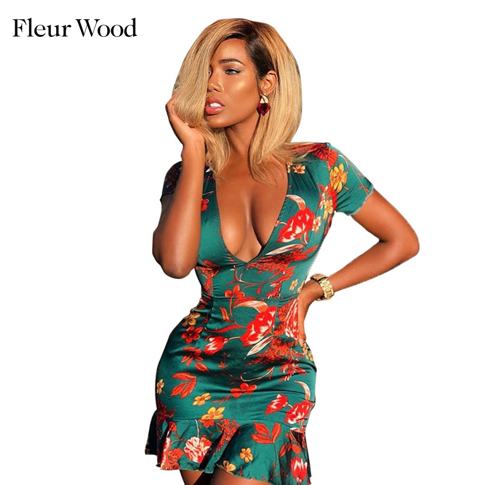 FLEUR WOOD Print Summer Dress 2020 Sexy Deep V Neck Ruffles Short Sleeve women's Dress Tight Mini Pencil Dress Casual Sundress image