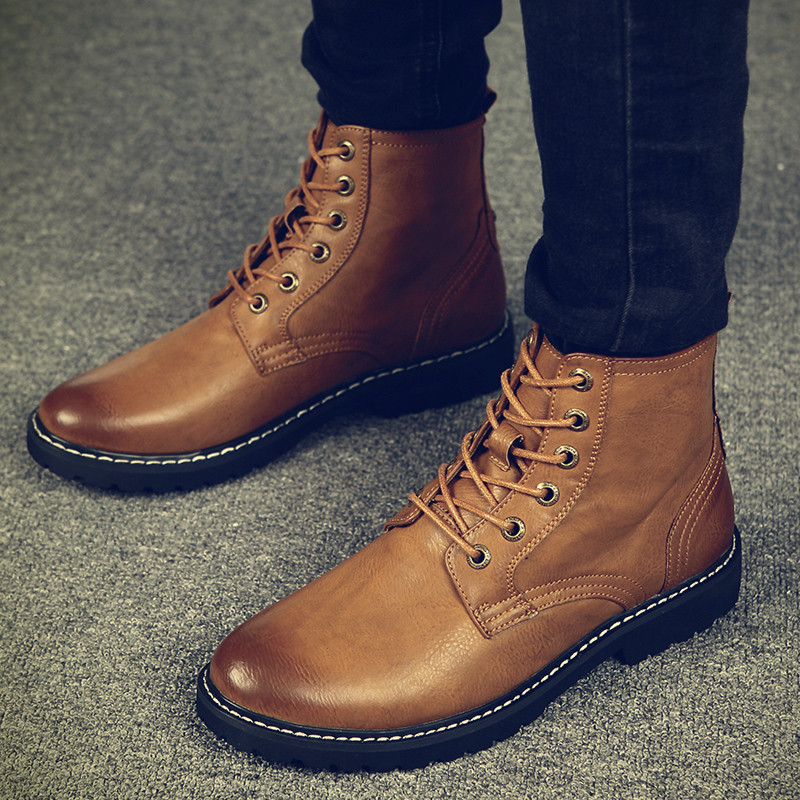 New Men's Martin Boots For Autumn And Winter Keep Warm Handtailor  Cowhide Skid Resistance British Style Fashion Casual Shoes