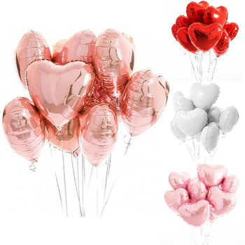 5pcs 18inch Rose Gold Love Heart Foil Balloons Helium Balloon Wedding Ballons Birthday Party Decorations Kids Adult Baloon