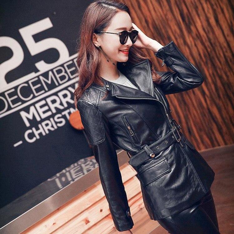 Free Shipping, Fashion 100% Genuine Leather Women Slim Jackets.OL Asian Plus Size Female Casual Sheepskin Jacket Brand