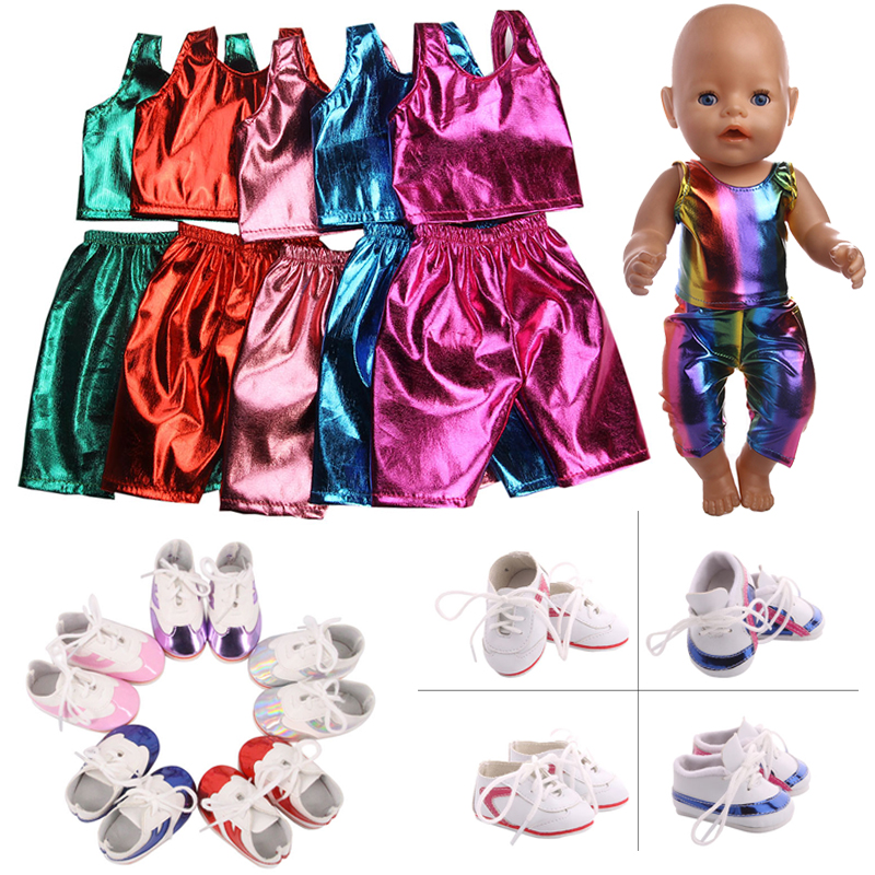 Doll American Sequin Colorful Clothes Tops+Panties Sneakers Shoes For 18 Inch American&43 Cm Baby New Born Doll Generation Girl`