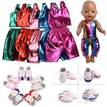 Bebek amerikan pullu renkli giysileri üstleri + külot Sneakers ayakkabı için 18 inç amerikan ve 43 Cm bebek yeni doğan bebek nesil kız