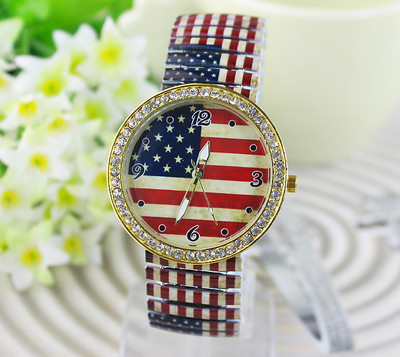 USA Flag American Women's Watch Crystal Diamond Quartz Elastic Band Ladies Dress Clock