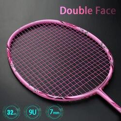 Super Leggero 9U 57-59G Completa in Fibra di Carbonio Racchetta da Badminton Racchette Strung Professionale con Le Stringhe Borse G5 Offensiva tipo di Racchetta