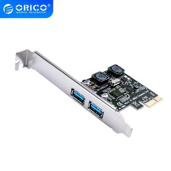 ORICO 2 Port USB 3.0 PCI-E Express Card 5Gbps SuperSpeed PCI-e Expansion Card USB3.0 hub Adapter for PCI-E X1 4 8 16 Card orico pvu3 5o2i usb3 0 5 port pci e expansion card with dual chip high speed 5gbps black pcba with 20 pin slot