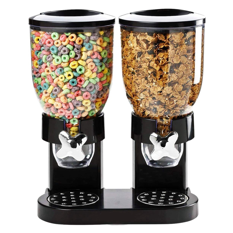 Top Sale Double Chamber Airtight Cereal And Dry Food Dispenser With Built In Spill Tray For Home, Kitchen, Countertops, Breakfas