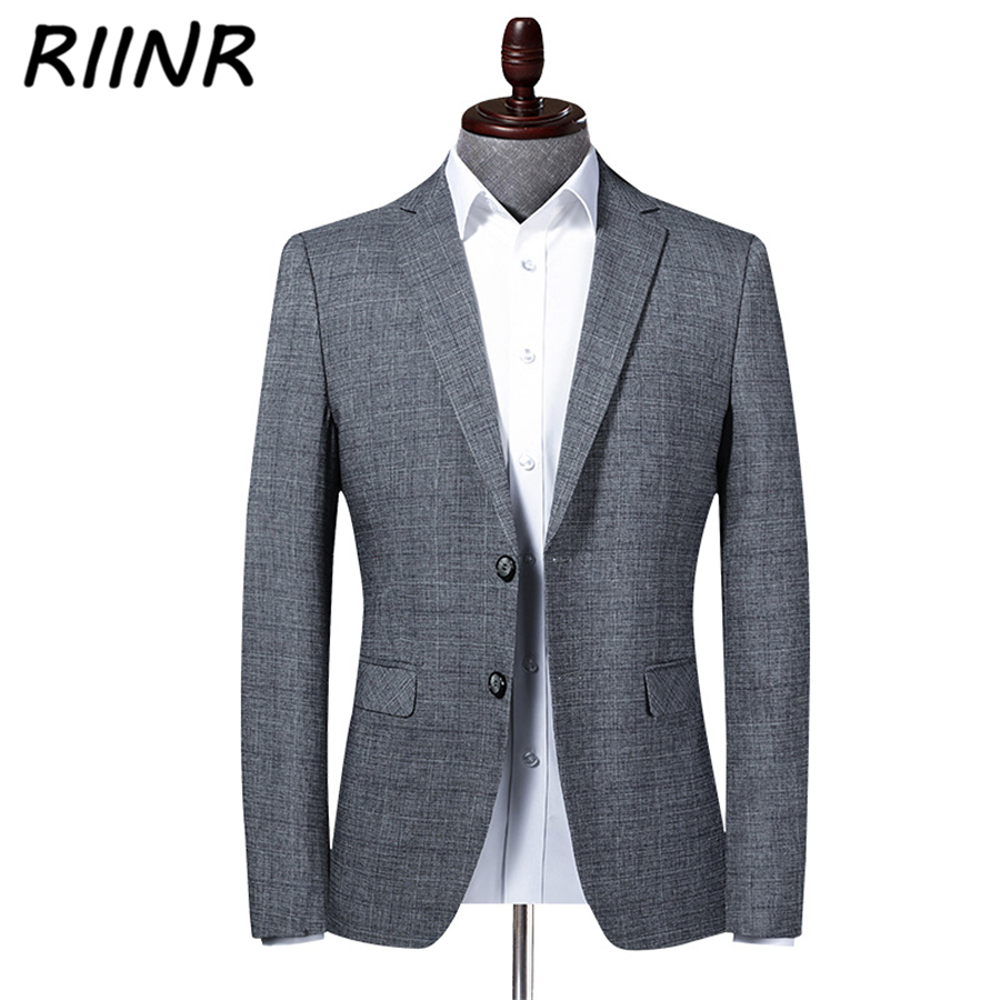 Riinr 2020 Spring Autumn New Men's Suit High Quality Business Casual Clothing Fashion Slim Suit Men Blazer Jacket Male M-4XL