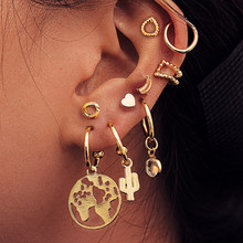 Bohemain Mixed Gold Color Small Earrings Set Crystal Moon Star Map Cross Stud Earrings Sets For Women Girls Fashion Jewelry Gift