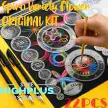 22 pçs spirograph desenho brinquedos conjunto bloqueio engrenagens & rodas régua geométrica desenho acessórios criativo educativo crianças brinquedo