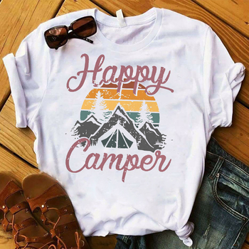 Moda damska koszulka Happy Camper Mountain Travel wydrukowano Graphic Top koszulka damska koszulka damska odzież damska koszulka tanie i dobre opinie Modalne Krótki REGULAR Dzianiny Cartoon NONE Na co dzień O-neck Print conventional O-neck Fabric men t shirt O neck t-shirt