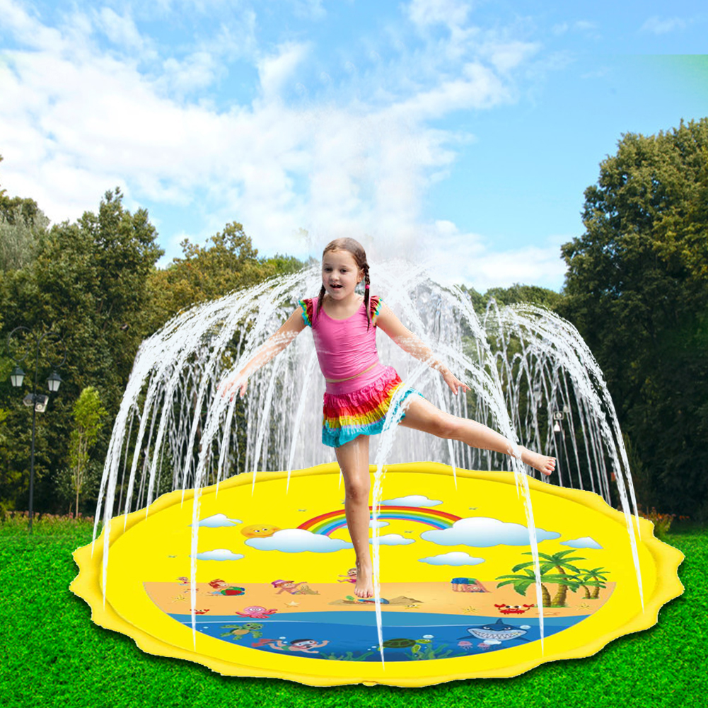 67 Inch Inflatable Sprinkler Play Mat Rainbow Splash Pad Wading Pool Kids Babies Toddlers Outdoor Fun Water Toys